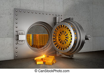 bank safe and gold bars