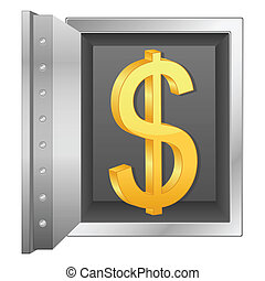 bank safe and gold dollar symbol