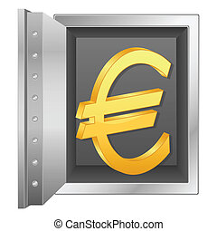 bank safe and gold euro symbol
