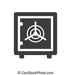 Bank safe icon on white background.