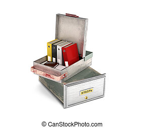 bank safe open cell with documents isolated 3d illustration