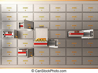 Bank safe open cell with gold isolated 3d illustration