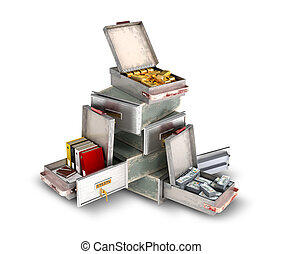 bank safe open cell with gold, money and documents isolated 3d illustration