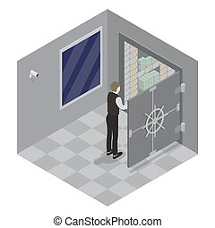 Bank Safe. Open Door of the Bank Safe. Bank Vault. Banker Opens the Safe with Money. Isometric Bank. Vector illustration