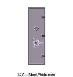 Bank safe vector icon deposit door. Business finance protection metal lock isolated. Money box cash flat storage