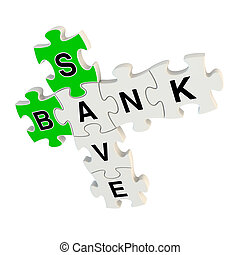 Bank save 3d puzzle on white background
