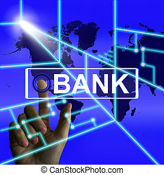 Bank Screen Indicates Online and Internet Banking