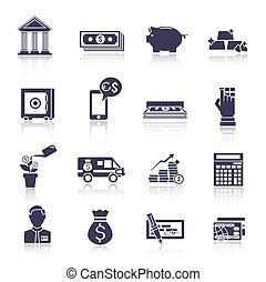 Bank service icons black set
