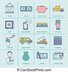 Bank Service Icons Flat Line