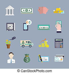 Bank service icons flat set