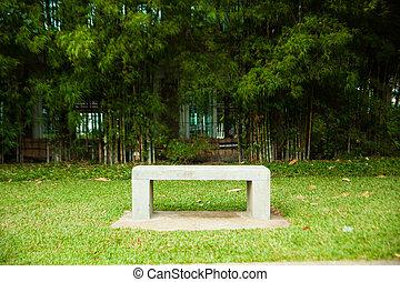 bank, sitze, und, bamboo.