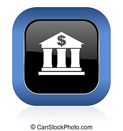 bank square glossy icon