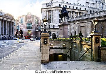 bank, stacja, wejście, w, londyn