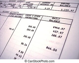 Bank statement - a close-up of a bank statement showing ...
