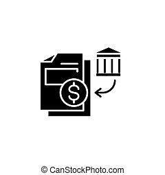 Bank statements black icon concept. Bank statements flat vector symbol, sign, illustration.