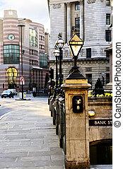 bank, station, ingang, in, londen