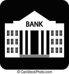 Bank symbol button on white background. Vector illustration.