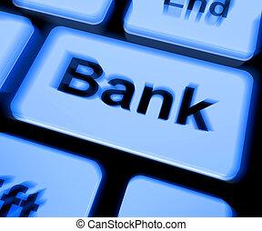 bank, tastatur, shows, online, oder, internet bankwesen