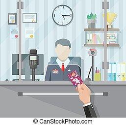 Bank teller behind the window