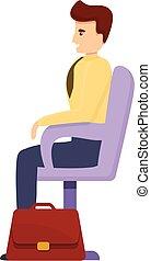 Bank teller client icon, cartoon style