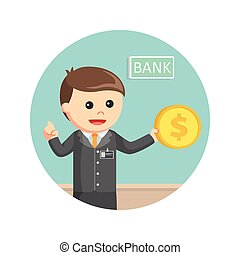 bank teller holding coins in circle background