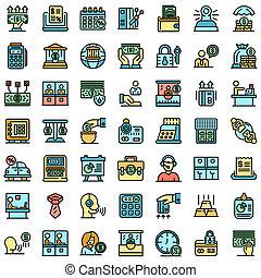Bank teller icons set flat
