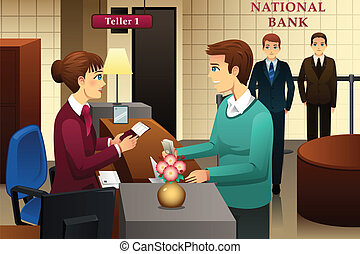Bank teller servicing a customer in the bank