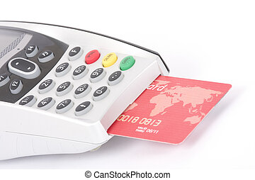 credit card - bank terminal and credit card isolated on...