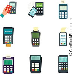 Bank terminal credit card icons set, flat style - Bank...