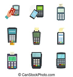 Bank terminal credit card icons set, flat style - Bank...