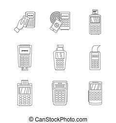 Bank terminal credit card icons set, outline style - Bank...