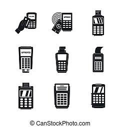 Bank terminal credit card icons set, simple style - Bank...