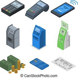 Bank terminal icon set, isometric style - Bank terminal icon...