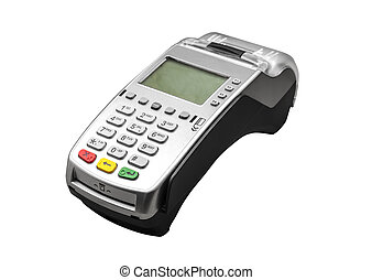 Bank terminal isolated on a white background