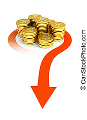 bank transfer - cash flow, business concept, 3d render