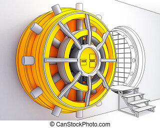 bank vault - 3d illustration cartoon style of classic bank...