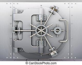 3D render of bank vault with door closed