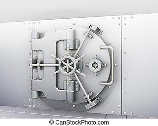Bank vault - 3D render of bank vault with door closed