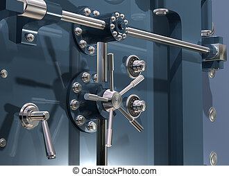 Bank Vault Close up - Illustration of a secure bank vault up...