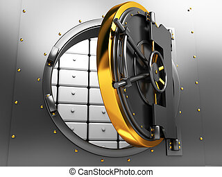 bank vault door - 3d illustration of opened bank vault door
