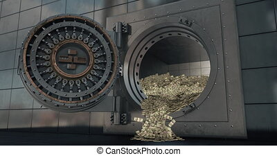 Bank vault doors open. 3D - Bank vault doors open and piles ...