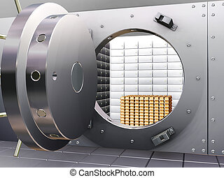 Bank vault - Open bank vault with gold bars inside