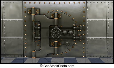 1080p HD Resolution Video: A heavy steel bank vault slowly opening showing lock boxes, gold, bags of cash and a safe inside.