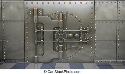 Full 1080p video of a bank vault opening with bright light beams shooting out as the camera moves closer.