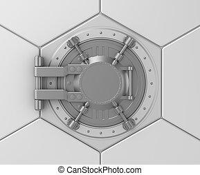 Bank vault safe door concept.