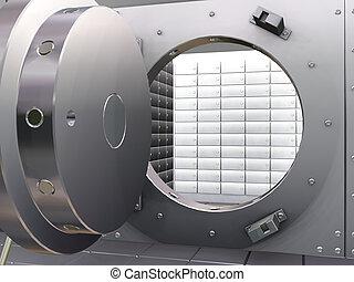 Bank vault - 3D render of open bank vault
