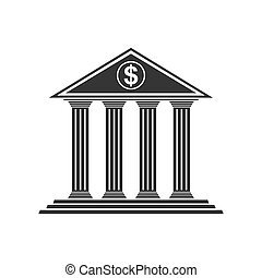 Bank vector icon isolated on white background.