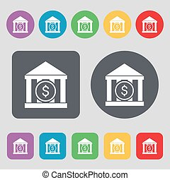 bank vector icon sign. A set of 12 colored buttons. Flat design.