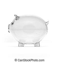 bank., verre, porcin, côté, vide, vue