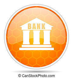 Bank web icon. Round orange glossy internet button for webdesign.